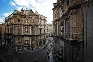 Palermo: Piazza Vigliena (I Quattro Canti) vista da Palazzo di Rudinì.
