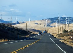 Blewett Pass and Kittitas Valley (starmist1) Tags: wind windmachines windfarm clouds bluesky transmissionlines autumn fall rollinghills hills trees forest car truck highway grasslands traffic scenic landscape october