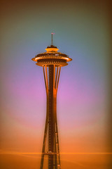 Sunsets and Seattle (Thomas Hawk) Tags: america seattle spaceneedle usa unitedstates unitedstatesofamerica washington washingtonstate sunset fav10 fav25 fav50 fav100