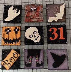 Hallowe'en inchies for swap (CraftyBev) Tags: witch pumpkins diecuts inking stamping hallowe'en inchies