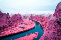 Peak to Peak (Jack R. Seikaly Photography) Tags: infrared multicolor yangshuo guilin china li river south guangxi jack seikaly jrseikaly photography landscape water pink purple cloudy cloud clouds fog foggy reflection lijiang