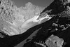 Day 32 of 40; safely out (photography by Derek G) Tags: mountains wilderness rugged glacier ice snow talus rocks summit blackandwhite anseladamswilderness lakecathrine highsierra shadows contrast