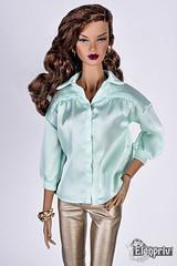 Light green blouse and golden pants underline the beauty of Decisive ITBE fashion doll (elenpriv) Tags: decisive itbe fashionroyalty fashion doll integrity toys jason wu 16inch bright tender elenpriv elena peredreeva handmade