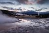 Upper Geyser Basin Daybreak. Yellowstone N.P., Wyo. (Oct. 6, 2017) (Thomas Cluderay) Tags: wyoming nps yellowstone yellowstonenationalpark nationalpark publiclands fall october nature outdoors photography naturephotography canon canon6d uppergeyserbasin geothermal geyser sunrise daybreak reflection
