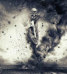 Out of the Storm (dave.mcculley) Tags: photoshop motorbike tornado sandstorm storm wind bike mx motocross jump wheel tyre