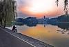 China 2017. Wuhan (Hubei). Fisherman at East Lake at Dusk. (Margnac) Tags: margnac jeanpaul chine china wuhan fisherman pêcheur dusk crépuscule