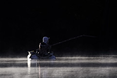 A fisherman (2) (mostodol) Tags: fisherman pêcheur eau water étang seineetmarne seine bords bordsdeseine iledefrance seineport fuji fujifilm panagor foca doubleur