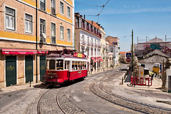 All Up/Down Hill in the Alfama (Trouvaille Blue) Tags: portugal lisboa lisbon alfama hill tram trolley street red tiles streetcar cobblestones tracks trouvailleblue