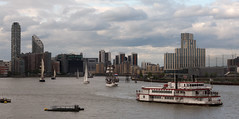 dixie and the sailboats (n.a.) Tags: london docklands sail boats sails sailboats river thames dixie queen paddle steamer mississippi tall ships floatilla