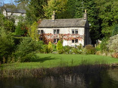 Cottage by the river (lesleydugmore) Tags: river alsop derbyshire uk england europe water grass lawn green house roof chimney window door peakdistrict alport nationalpark outside outdoors