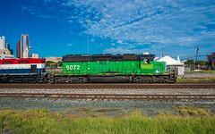 Grungy Green Machine (trnchsr1984) Tags: dgno sd402 emd dallas texas burlington northern