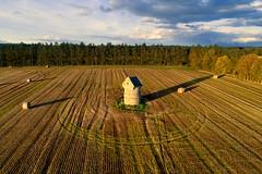 Auchmacoy Doocot in Autumn, Aberdeenshire (iancowe) Tags: auchmacoy doocot dovecot pigeons drone aerial dji phantom 4 pro estate field crop crops harvest time hay haybale haybales bales autumn autumnal ellon scotland scottish medieval aberdeenshire gordon