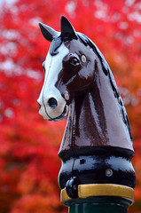 Fit to be tied (James_D_Images) Tags: hitch hitching post horse figure head fall autumn colour foliage leaves bokeh red orange stanley park vancouver britishcolumbia