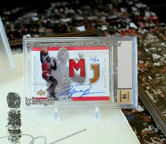 "Who is ""MJ""? This card shows you.  2000 #Master Collection #NBA #Legends Mystery Pack #MJC #Michael #Jordan floor #jersey on-card #auto #autograph /10 The ONLY NBA licensed #michaeljordan on-card  auto with #MJ Game-used Jersey and #Final Floor of his 6th (gmchungals) Tags: final michael michaeljordan mjc best auto masterpiece jordan gia pristine pe master mj jersey trading autograph nba diamond champion aj11 basketball chicago goat bgs legends gem bulls card"