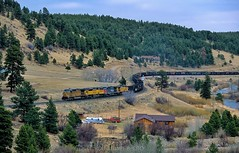 Coal empties leaving Rollinsville, CO (rolfstumpf) Tags: usa colorado rollinsville trains rockymountains railway railroad unionpacific moffatroad ge ac4400cw landscape coaltrain freight airstream