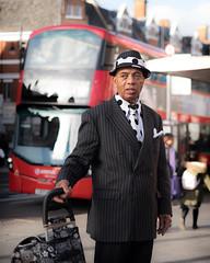 Pinstripes and Polka Dots (JoshyWindsor) Tags: portrait urban london doubledeckerbus brixton suit city pinstripes fujifilmxt10 polkadots dressedup streetphotography