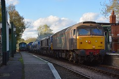 57007 paused at Thuxton Station awaiting the Service DMU, before it proceeds to  Wymondham with 66421 & 66424 on the RHTT Train. Mid Norfolk Railway. 25 10 2017 (pnb511) Tags: mnr midnorfolkrailway train engine loco locomotive diesel trains engines locos locomotives diesels class57 class66 rhtt track drs directrailservices dmu railcar class101