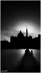 sotto l'ombra di San Pietro, under the shadow of St. Peter (Massimo Vitellino) Tags: rome sanpietro outdoors cityscape hdrblackandwhite cathedral church noperson abstract conceptual contrast silhouette sky cloud