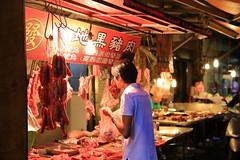 Pork Stall (superzookeeper) Tags: formosa 5dmk4 5dmkiv canoneos5dmarkiv ef2470mmf28liiusm eos digital taiwan tw street hsinchu market pork porkstall wetmarket people night bokeh sausage over1000views food