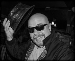 Just me and my hat and Harrington jacket. (CWhatPhotos) Tags: cwhatphotos harrington jacket ska hat pork pie leather sun glasses portrai pose smile smiler man male bald baldy head evening shadows shadowed photographs photograph pics pictures pic picture image images foto fotos photography artistic that have which with contain em5 ii omd mkii olympus