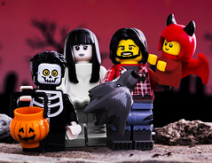 Halloween Family (jezbags) Tags: lego legos toys toy canon60d canon 60d 100mm closeup upclose macro macrophotography macrodreams macrolego halloween skeleton ballerina warewolf devil family trick or treat pumpkin