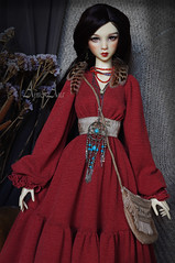 Charming Herbalist (AyuAna) Tags: bjd ball jointed doll dollfie ayuana design handmade ooak clothing clothes dress set casual boho gypsy style llt lalegendedetemps bluemagpie blue magpie normalskin hybrid impldoll star body