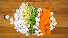 making soup (oana-emilia) Tags: food vegetables cooking colourful choppingboard carrots onion garlic celery parsnip peppers