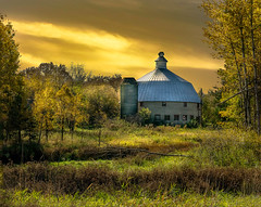 Golden Years (henryhintermeister) Tags: barns minnesota oldbarns clouds farming countryliving country sunsets storms sunrises pastures nostalgia skies outdoors seasons field hay silos dairybarns building architecture outdoor winter serene grass landscape plant cloudsstormssunsetssunrises