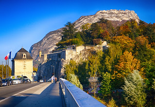 Mountainside view in Grenoble, France