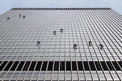 Window Washers #2 (famasonjr) Tags: urban city people canoneos7d canonef28135mmf3556isusm streetphotography hanging suspended was washing climbing wash climb