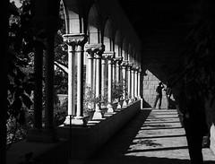 Cloister Shadows and Light (pilechko) Tags: cloisters nyc shadows light pillars angles edges person