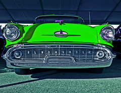 Not Easy Being Green (oybay©) Tags: oldsmobile red barrettjackson car automobile scottsdale arizona carshow auction circus fun annual showtime lines vehicle outdoor tire pinko classiccar classic heavymetal martinautomuseum phoenix 442 yellow yellowcar bright color colors colorful olds suncitywest glendale veteransautoshow macro