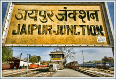 Welcome to Jaipur (david.hayes77) Tags: jaipur jaipurjunction rajasthan india 2016 ydm4 6637 alco wdm21 16869 train12468 train02089 bg broadgauge mg metregauge ir indianrailways nwr hindi signalbox