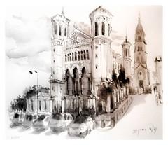 Lyon - Rhône - France - la Basilique de Fourvière (guymoll) Tags: lyon rhône france basilique fourvière église church croquis sketch