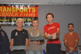 Podium catégorie master 2 masculin; 1er Christophe GINANE (Alès Triathlon), 2eme Michel ROUX (Non licencié) 3eme Jean-Michel RIEUTORD (SCAC)