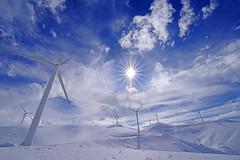 High-tech Forest! (GEORGE TSIMTSIMIS) Tags: windmills sun blue white pentaxk1 ricohimaging patras panachaikonmountain achaia greece travel explore adventure fullframe clouds starburst