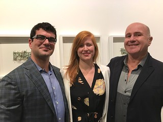 Grand opening of LnS Gallery with owners Sergio and Luisa Cernuda and artist Cesar Trasobares