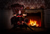 (Mr. Muggles) Tags: halloween doll burlesque fireplace flames moody dark goth spooky creepy madness photoshoot photoart chair cosplay costume harlequin marionette redhead redhair