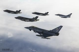RAF and US Marine F-35B escorted by RAF Typhoon