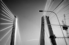 """The New Tappan Zee Bridge"" (Photography by Sharon Farrell) Tags: tappanzeebridge newtappanzeebridge newnybridge cablestayedbridge newnybridgeproject newnewyorkbridgeproject hudsonriver newyorkshudsonriver newyork newyorkbridge newyorkbridges newyorknewjersey noiretblanc monochrome"
