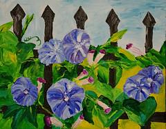 Morning Glories on the Fence (BKHagar *Kim*) Tags: bkhagar art artday painting paint acrylic fence flowers morningglories