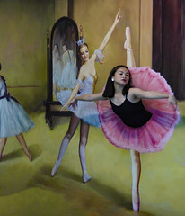 Pointe Pose (Steve Taylor (Photography)) Tags: art costume curtains brown pink black yellow women woman lady ladies asia city singapore ballerina balance ballet dancing illusion trickeyemuseum mirror