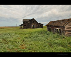 leave the bones to the wind (Gordon Hunter) Tags: farm grass wind wet rain clouds prairies country rural shack building shed house home angular angle field shakes shingles abandoned derelict decay morning gordon hunter nikon d5000 le long exposure