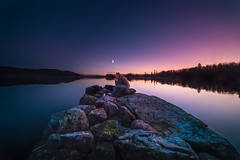 A quiet moment (Tore Thiis Fjeld) Tags: norway oslo nordmarka maridalsvannet moonlight quiet lake water silent tranquil tranquility le longexposure samyang 14mm nikon d800 rocks forest moon purple night evening nightsky alone peace loneliness outdoors nature surface