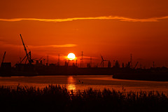 The End of the Day (alan.irons) Tags: sunset neaphousewharf crane sun ball reeds river riverbank rivertrent clouds tidal shipping cargo port inland dock whartons axholme northlincolnshire uk outside landscape riverscene eos1dxmk2 ef100400 fullframe handheld silhouettes endoftheday humberside reflections orangeskies