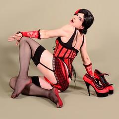 133Q2L (klarissakrass) Tags: burlesque stockings nylons sexy sexydress sexylegs heels crossdress tranny transgender gloves corsage