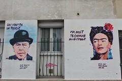 SebD_9719 rue du Retrait Paris 20 (meuh1246) Tags: streetart paris rueduretrait paris20 belleville sebd fridakahlo renémagritte chapeau