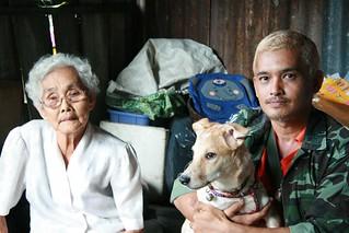 grandma, grandson, dog