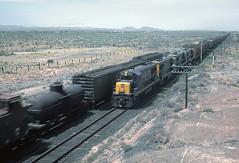 AT&SF brand new U25B 1606 near the Petrified Forest, Holbrook, AZ on July 27, 1962. (one of only 16 Santa Fe U25Bs) (railfan 44) Tags: santafe atsf