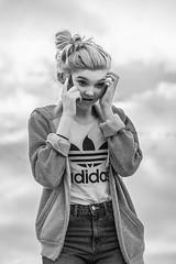 On the phone again!! (_John Hikins) Tags: black bw blackwhite blackandwhite white beach phone girl daughter adidas telephone monochrome nikon nikkor 50mm 50mm18 devon d500 bokeh